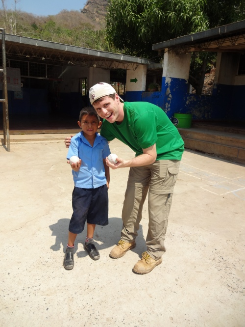 Chris Kincaid with a new friend in Aguacayo.