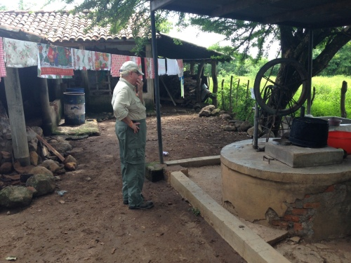 A common means for water storage in remote El Salvador are cisterns that collect rain water. Here is an example.