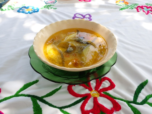 Another delicious meal prepared by the village ladies. Chicken soup.
